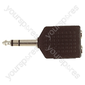 6.35 mm Stereo Plug to 2x 6.35 mm Stereo Sockets Adaptor
