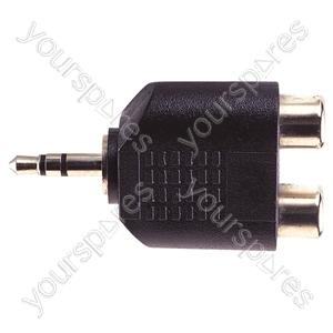 3.5 mm Stereo Plug to 2x RCA Phono Sockets Adaptor