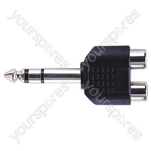 6.35 mm Stereo Plug to 2x RCA Phono Sockets Adaptor