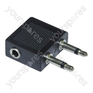 2x 3.5 mm Mono Jack Plugs to Stereo Jack Socket Aircraft Headphone Adaptor