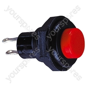 Round Plastic Push Button with Momentary Action - Colour Red