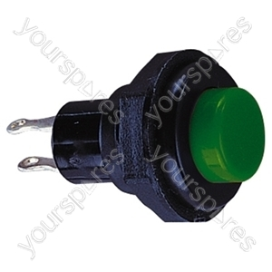 Round Plastic Push Button with Momentary Action - Colour Green