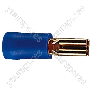 Gold Plated 3mm Receptacle Insulated Terminal For Cable Up To 1.65mm - Colour Blue