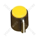 6.35mm Plastic Pointer Knob with Coloured Cap - Cap Colour Yellow