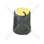 6mm Rotary Pointer Knob with Coloured Cap and Push On Fitting - Cap Colour Yellow