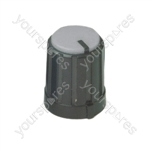 6mm Rotary Pointer Knob with Coloured Cap and Push On Fitting - Cap Colour Grey