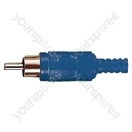 Standard Phono Plug with Soft Plastic Cover and Solder Terminals - Colour Blue