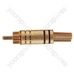 Gold Plated Phono plug with Colour Band, Cable protector and Solder Terminals - Colour Black