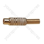 Phono Line Socket with Gold Plating and Solder Terminals - Colour White