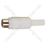 Phono Line Socket with Soft Plastic Cover and Solder Terminals - Colour White