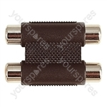 2x Phono Sockets to 2x Phono Sockets Adaptor