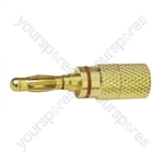 4 mm High Quality Gold Plated Banana Plug with Colour Coded Band  - Colour Red