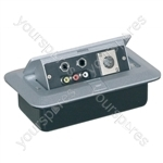 Pop-up AV Combination Plate With Jack Sockets, Phono Sockets and Chassis Male 3 pin XLR Socket