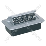 Pop-up AV Combination Plate with 4 x XLR Chassis Plugs