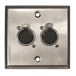 Metal AV Wall Plate with 2 x XLR Sockets