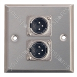 Metal AV Wall Plate 2 x 3 Pin XLR Connectors