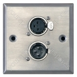Metal AV Wall Plate with XLR 3 Pole Male & XLR 3 Pole Female
