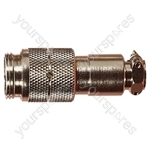 Nickel High Quality Multi Contact Line Plug with Cable Grip and Solder Terminals - Number of Contacts 6