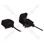 Fused Euro Converter Plug 2 Pole Euro Plug to 3 Pin UK Plug - Total Load (A) 5