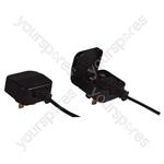Fused Euro Converter Plug 2 Pole Euro Plug to 3 Pin UK Plug - Total Load (A) 5