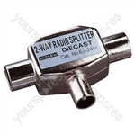 Coaxial T Splitter with Line Plug Input to 2 Coaxial Line Socket Outputs