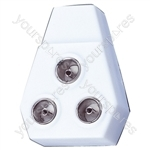 Right Angled Coaxial Y Splitter with Line Plug to 3x Line Sockets