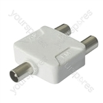 Coaxial Through Splitter Line Plug to 2 x  Line Sockets