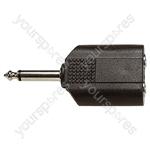 6.35 mm Mono Plug to 2x 6.35 mm Mono Sockets Adaptor