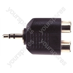 3.5 mm Stereo Plug to 2x RCA Phono Sockets Adaptor