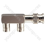Dual Right Angled BNC Adaptor with Gold Plated Contacts (BNC Line Plug to 2x BNC Chassis Sockets)