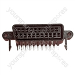 21 Way Right Angled Scart Chassis Socket with Solder Terminals, Chassis or PCB Mount