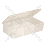 White Size 18 Compartment Box with Hinged Lid and Semi Transparent Finish