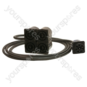4 x Bulgin Sockets To Bulgin Plug. Length 3m