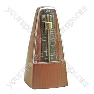 Large Teak Effect Mechanical Metronome