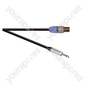 Professional 2 Pole Speakon Plug to 6.35mm Mono Jack Plug  Speaker Lead 2x 1.5mm Highflex Cable - Lead Length (m) 15