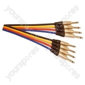 Professional 6.35 mm Mono Jack Plug 6.35 mm Mono Jack Plug Patch Lead With Neutrik Connectors and Klotz Cable 0.5m - Colour Yellow