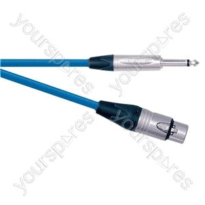 Professional Balanced XLR to 6.35mm Microphone Lead With Neutrik Connector and HQE Cable Extended Length 15M - Colour Blue