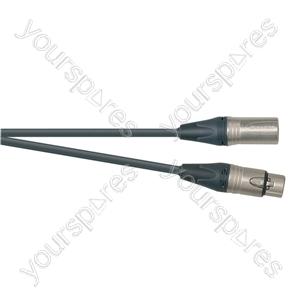 Professional 3 Pin XLR Patch Lead With Neutrik Connectors - Colour Black