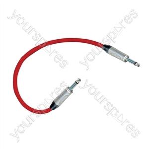 Professional 6.35 mm mono jack plug Patch Lead With Neutrik Connectors 0.5m - Colour Red