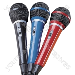Red Plastic Microphone With Integral 2.8m Lead Fitted With 6.35mm Plug.  Picture Boxed