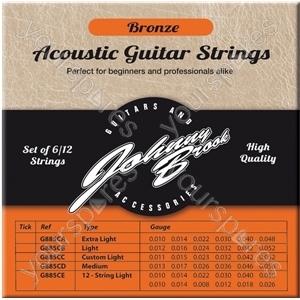 Johnny Brook Bronze Acoustic Guitar Strings Set of 6 - Gauge .010/.014/.022/.030/.040/.048