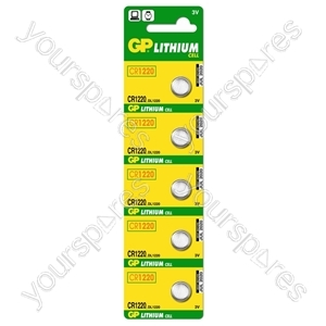 GP Lithium Button Cell Strip of 5 - Type CR1220-C5
