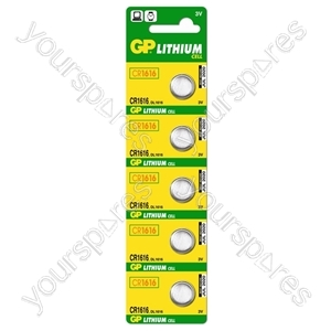 GP Lithium Button Cell Strip of 5 - Type CR1616-C5