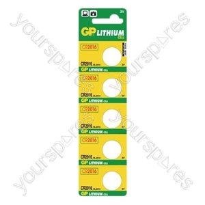 GP Lithium Button Cell Strip of 5 - Type CR2016-C5