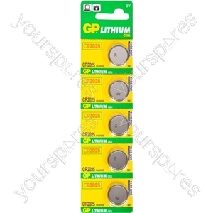 GP Lithium Button Cell Strip of 5 - Type CR2025-C5
