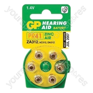 GP Batteries Air Hearing Aid Battery (Pack of 6) - Type GPZA312-D6