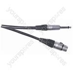 Professional Unbalanced 3 Pin XLR to 6.35 mm Mono Jack Plug Microphone Lead With Neutrik Connectors 6m - Colour Blue