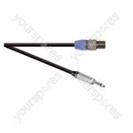 Professional 2 Pole Speakon Plug to 6.35mm Mono Jack Plug  Speaker Lead 2x 1.5mm Highflex Cable - Lead Length (m) 1