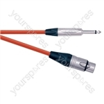 Professional XLR Line 6.35 mm Mono Jack Plug Microphone Lead With Neutrik Connectors 15m - Colour Red