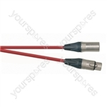 Professional 3 Pin XLR Patch Lead With Neutrik Connectors - Colour Red